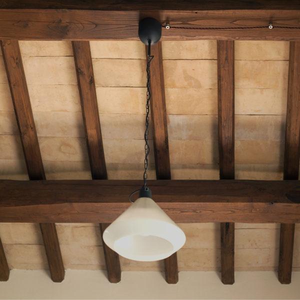 particolare di un sottotetto artigianale in cotto fatto a mano dalla Fornace Femmnelli a Castel Viscardo